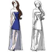 Fashion hand drawn illustration. Vector sketch. Long dress.
