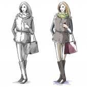 Fashion hand drawn illustration Vector sketchstreet fashion