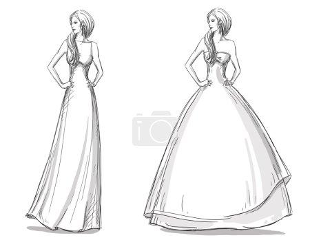 Fashion hand drawn illustration. Vector sketch. Long dress. Bride.