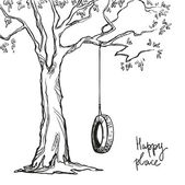 Tree with a tyre swing Vector illustration