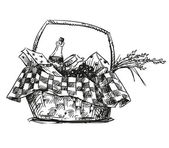 Picnic basket with snack Hand drawn