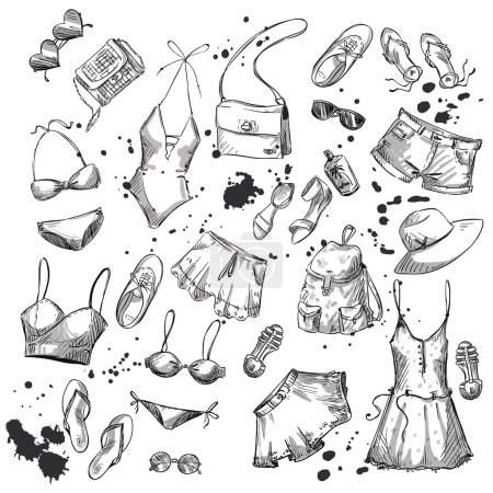 Illustration for Summer fashion. collection of summer clothing and accessories. Vector EPS 10 - Royalty Free Image