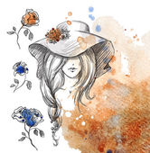 Girl in a hat on a watercolor background Vector EPS 10