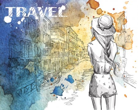 Fashion illustration. Girl on a Venice canal background.