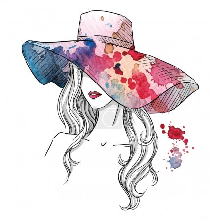 Sketch of a girl in a hat. Fashion illustration. Hand drawn.