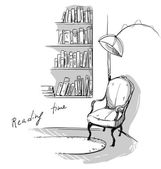 Reading time A quiet cozy corner at home bookshelves and a chair