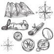 Set of hand drawn compasses and maps, vector illus...