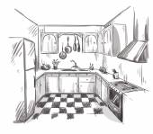 Kitchen interior drawing vector illustration