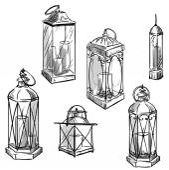 set of hand drawn lanterns Vector sketch