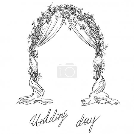 Wedding arch. Decoration. Vector sketch. Design element.