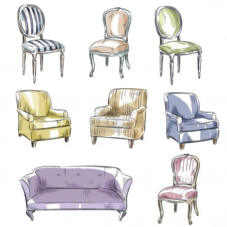 Illustration for Set of hand drawn chairs and sofas, vector illustration - Royalty Free Image