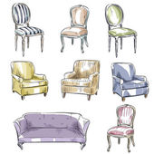 set of hand drawn chairs and sofas vector illustration