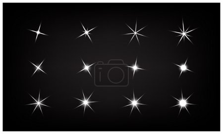 Set of Vector sparkling and glowing light effect stars on black