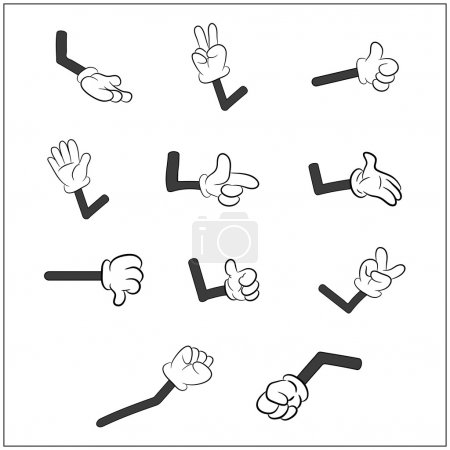 Image of cartoon human gloves hand with arm gesture set. Vector illustration isolated on white background.