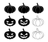 Halloween pumpkin silhouette set vector illustration Jack O Lantern  isolated on white background Scary orange picture with eyes