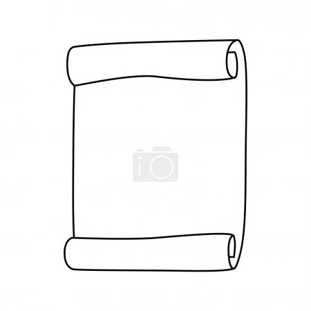 Paper scroll silhouette vector isolated on white background. Empty, blank parchment rolled up scroll, old paper sheet texture.