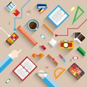 Flat Style Modern Design Concept of Creative Office Workspace Icons Collection of Business Work Flow Items and Elements Office Things Objects and Equipment for Workplace Design