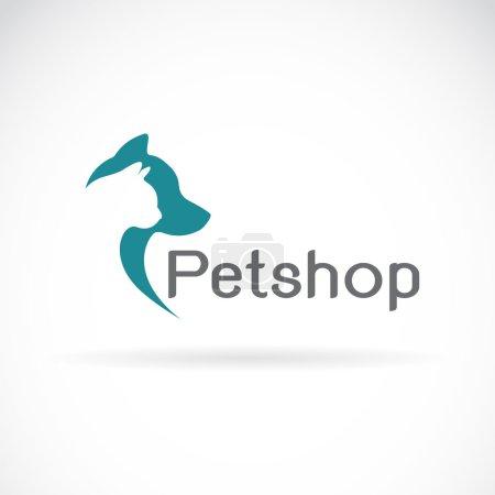 Illustration pour Image vectorielle d'un dessin de chien et chat sur fond blanc. Petshop - image libre de droit