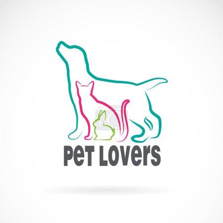 Illustration pour Groupe vecteur d'animaux de compagnie - Chien, chat, lapin, isolé sur fond blanc. Design animal - image libre de droit