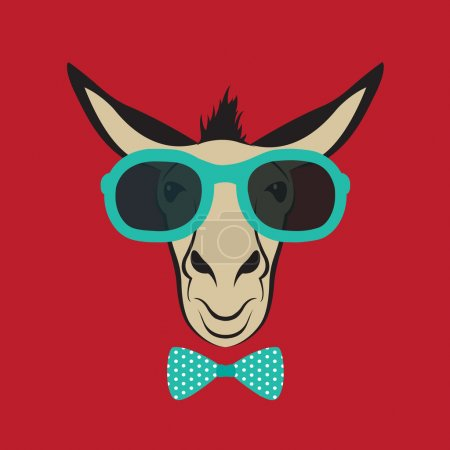 Illustration for Vector image of a donkey wearing blue glasses. - Royalty Free Image
