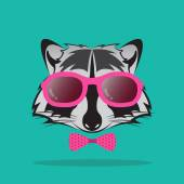 Vector images of raccoon and glasses on blue background