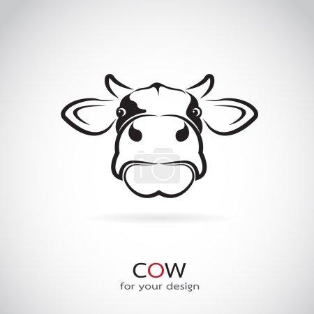 Illustration pour Image vectorielle d'une tête de vache sur fond blanc - image libre de droit
