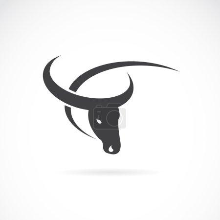 Illustration pour Image vectorielle d'un dessin de buffle sur fond blanc. - image libre de droit
