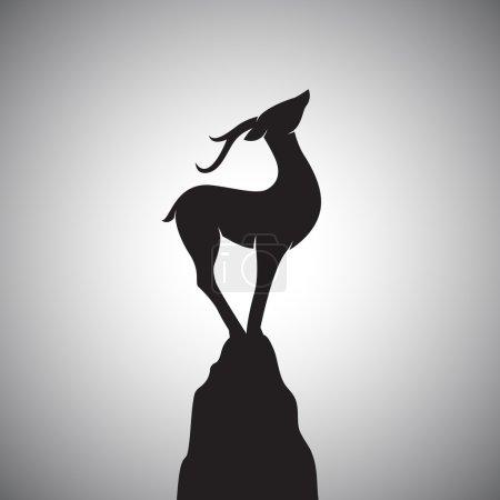 Image vectorielle d'un cerf debout sur les rochers.