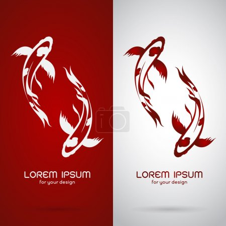 Illustration for Vector image of an carp koi design on white background and red background, Logo, Symbol - Royalty Free Image