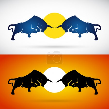 Vector image of an bull fight on white background and orange bac