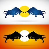Vector image of an bull fight on white background and orange background Logo Symbol