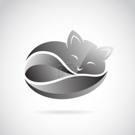 Illustration pour Image vectorielle d'un dessin de chat sur fond blanc. - image libre de droit