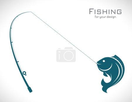 Illustration pour Images vectorielles de la canne à pêche et du poisson sur fond blanc - image libre de droit