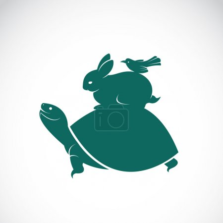 Vector image of an turtles, rabbits, birds on white background