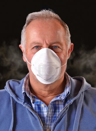 Man wearing a safety protective mask