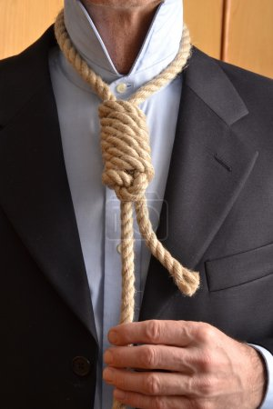 Hangman adjusting a noose rope