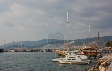 Moored  boats and yachts in Akbuk (Didim) city, Tu...