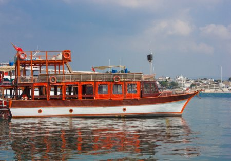 Moored cruises yacht in Didim city, Turkey...