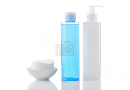 Face wash cleansing gel, toner and cotton cleansing pads isolate