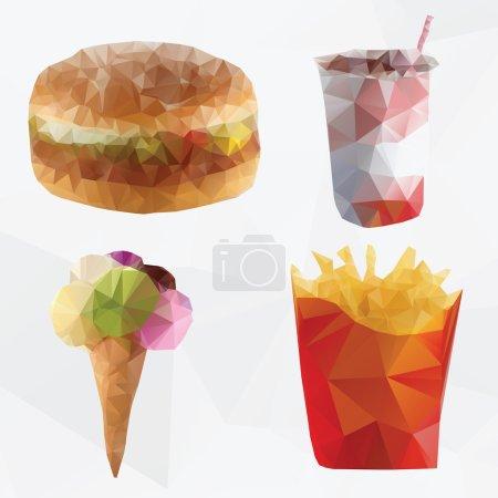 Illustration pour Fast food abstrait géométrique polygone vecteur - image libre de droit