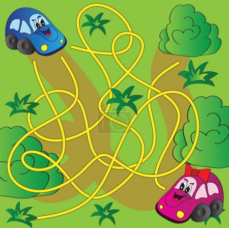 Illustration for Vector maze game with funny cars - Royalty Free Image