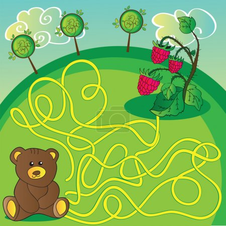 Maze game or activity page. Help the bear to choose right way