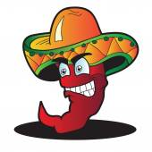 Mexican pepper cartoon character isolated on white