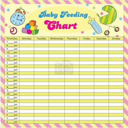 Baby feeding schedule for moms - colorful vector illustration