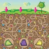 Bludiště pro děti - příroda, kameny a drahokamy pod zem