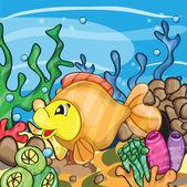 Illustration of a happy goldfish