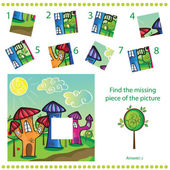 Find missing piece - Puzzle game for Children - cartoon town