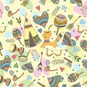 Vector Indian doodle illustration - funny doodle style pattern