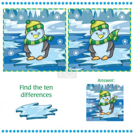 Find differences between the two images unny penguin on ice background