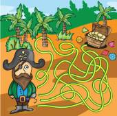 Vector Maze Game - Pirate Try to Find Treasure Box